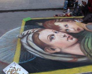Street chalk artist, Florence, Italy