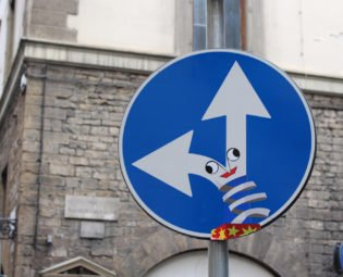 Clet street sign, Florence, Italy