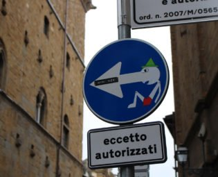 Clet Pinocchio street sign, Florence, Italy