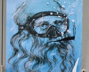 Street art Da Vinci, Blub L'arte sa nuotare, Florence, Italy