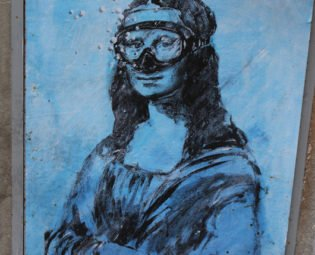 Street art Mona Lisa, Blub L'arte sa nuotare, Florence, Italy