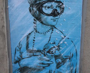 Street art putto, Blub L'arte sa nuotare, Florence, Italy
