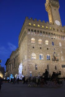 Palazzo Vecchio and Fountain of Neptune at night, Florence, Italy
