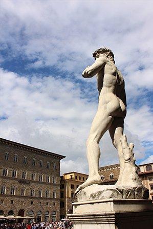 Michelangelo's David outside Palazzo Vecchio, Florence, Italy