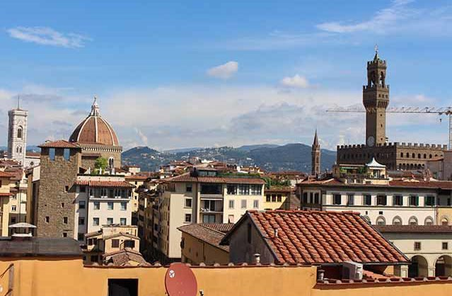 View from Hotel Piti Palace dining room, Florence, Italy